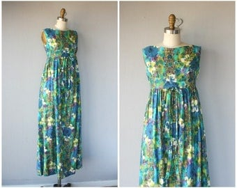 Vintage 1960s Maxi Dress • 60s Dress • 1960s Dress • Hawaiian Dress • 1970s Bohemian Dress  -  (small)