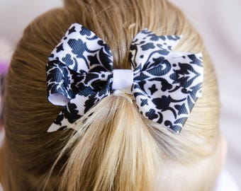 Hair Bow - Black on White Damask Print Pinwheel Bow