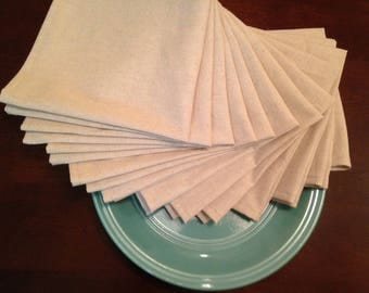 12 Premium Handmade Natural Cotton Linen Napkins