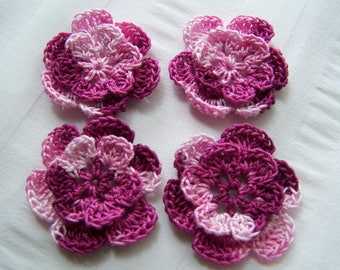 Appliques hand crocheted flowers set of 4raspberry frappe cotton 1.5 inch