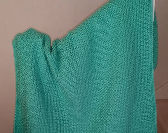Hand Crochet Mint Peppermint Baby Blanket or Knee Rug / Lapghan