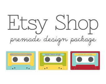 Etsy Shop Banner Avatar Set, Etsy Cover Shop Icon, Premade Design Store Package, Cassette Back in Style, Vintage Classic, Logo Branding