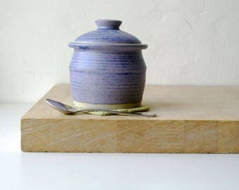 Lidded sugar jar - handmade stoneware kitchen canister glazed in lavender blue
