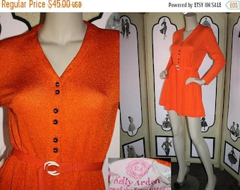 ON SALE Vintage 1960's Mini Dress by Kelly Arden, One of the Four Sisters. Micro Mini Knit A-Line Dress with Long Sleeves and Belt. Small.