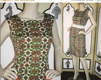 ON SALE Vintage 60's Dress with Gorgeous Old World Pattern in Rust, Olive, Cranberry, Gray and White. Large L.