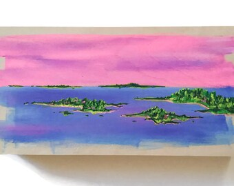 Original Landscape Painting 12x6 in. Art on Wood Panel Landscape Acrylic Painting on Wood Wall Art Ocean Art Seascape Painting