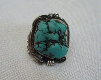 Vintage Sterling Navajo Turquoise Ring - Crown Point Artist Signed