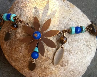 FLOWER POWER Vintaj Brass with Turquoise Magnesite Lapis Tigers Eye Necklace Get 50%Off Now!