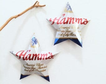 Hamms  Beer Stars Gift Toppers Ornaments Aluminum Can Upcycled
