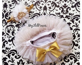 SALE Princess Headband and tutu bloomers. White and Gold sparkles, White tutu, tiara baby girl headband, birthday outfit, baby special occas