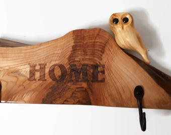 Rustic home decor housewarming gift key holder unique wedding gift wall decor wood anniversary gift  wall art gift for her for him owl