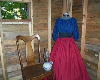 Reenactment Prairie Pioneer Civil War Colonial Burgundy skirt and Top