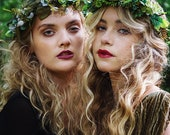 Green flower crown, boho flower crown, wedding halo, floral crown, hair vine, woodland wedding crown, leafy crown, leaf crown, woodland halo