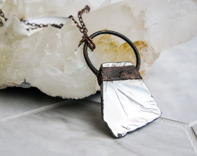 Electroformed Copper Necklace Silver Aura Crystal Pendant Boho necklace Modern Jewelry Silver Aura Crystal Pendant Statement necklace OOAK