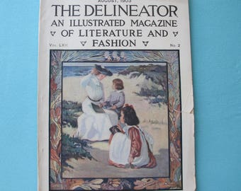 Delineator Magazine August 1903 Fashion Needlework Edwardian Styles Hats Recipes Corsets Advertising Jewelry Stories Women's Childs Clothing