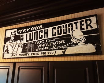 Large Cool Retro Lunch Counter Kitchen sign 22 x 63