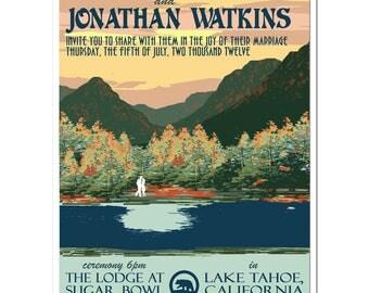 Vintage Lake Tahoe Wedding Invitation and Reply Postcard - PDF - Digital Files
