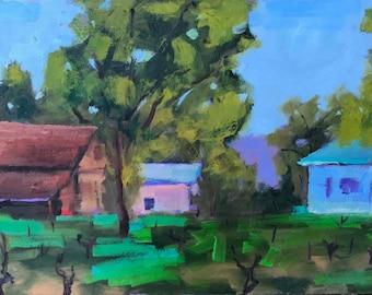 LOVALL VALLEY ROAD, 9 x 16 - Sonoma County Vineyard, California Landscape - Original - Plein Air Painting - Home Decor - Wall Art - Artwork