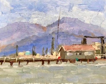 OLD FERRY BUILDING - Benicia - Mt. Diablo - 6 x 8 - Original Oil Painting - Art - Wall Hanging - Shabby Cottage Chic - Rustic Home Decor