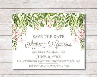 Greenery Save the Date Printable, Botanical Save the Date Template, Greenery Wedding Save the Date, Watercolor Classy Printable Invite