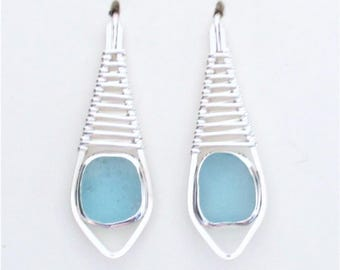 Sea Glass Jewelry - Sterling Weaved Aqua Sea Glass Earrings