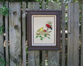 Vintage Large Embroidery Nesting Baby Birds and Moms, Framed and Completed