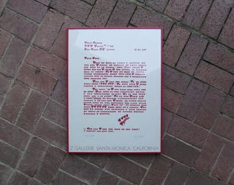 Vintage Love Letter Framed Poster, Graphic Hearts, Z Gallerie Santa Monica 1981, Valentines Day