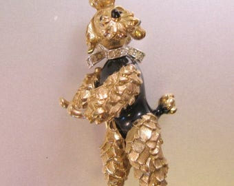 XMAS in JULY SALE Vintage Panetta Ornate Gold Tone Pave Rhinestone Dancing Poodle Dog Brooch Pin Pendant Moving