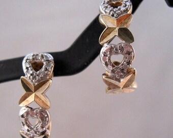 XMAS in JULY SALE Sterling Vermeil Xo Kissess & Hugs Earrings Diamond Accent Pierced Vintage Jewelry Jewellery