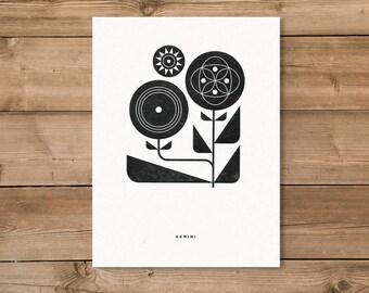 Gemini Letterpress Print