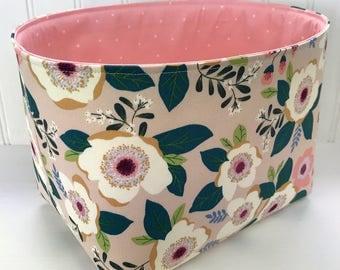 Organizer Basket Fabric Bin,Storage Bin,Nursery Decor,Fabric Basket,Flowers,Home Decor,Floral,Light Pink,Shabby Chic,Coral Pink,Blush Flower