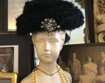 Vintage 50s Black Rabbit Fur Ladies Rhinestone White Crystal Brooch  Suzy Lee Holiday Winter Beret Hat