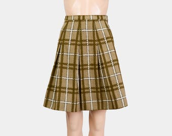 Olive Green Skirt | 50s Plaid Wool Skirt | High Waist Skirt | 60s Pleated School Girl Mini Skirt | XS 24 waist