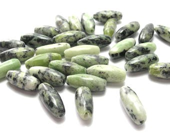 Chrysoprase Rice Beads (12mm) - Gemstones - Natural/Hand Cut