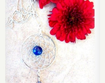 "SALE DREAM In LAPIS   Dream catcher necklace with Lapis and Sterling 18"" chain"