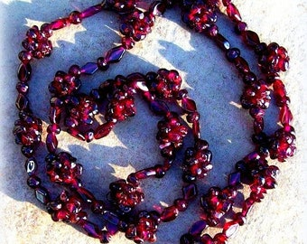 SALE GORGEOUS GARNET ll  Deep red Garnet stone necklace, long garnet necklace, garnet jewelry, garnet