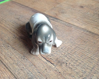 Vintage Grey and White Spaniel Dog Figurine, Grey and White Dog Ornament
