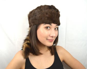 Vintage Davy Crockett's Real Fur Racoon Hat with Tail