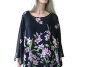 Reserved for Christine only! Black floral spring tunic Chiffon tee Oversize woman top/Chiffon spring summer Tunic,Plus size blouse