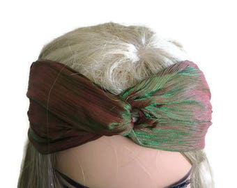 Chameleon, dual-colors turban-Adult turban headband, shades of green and brick
