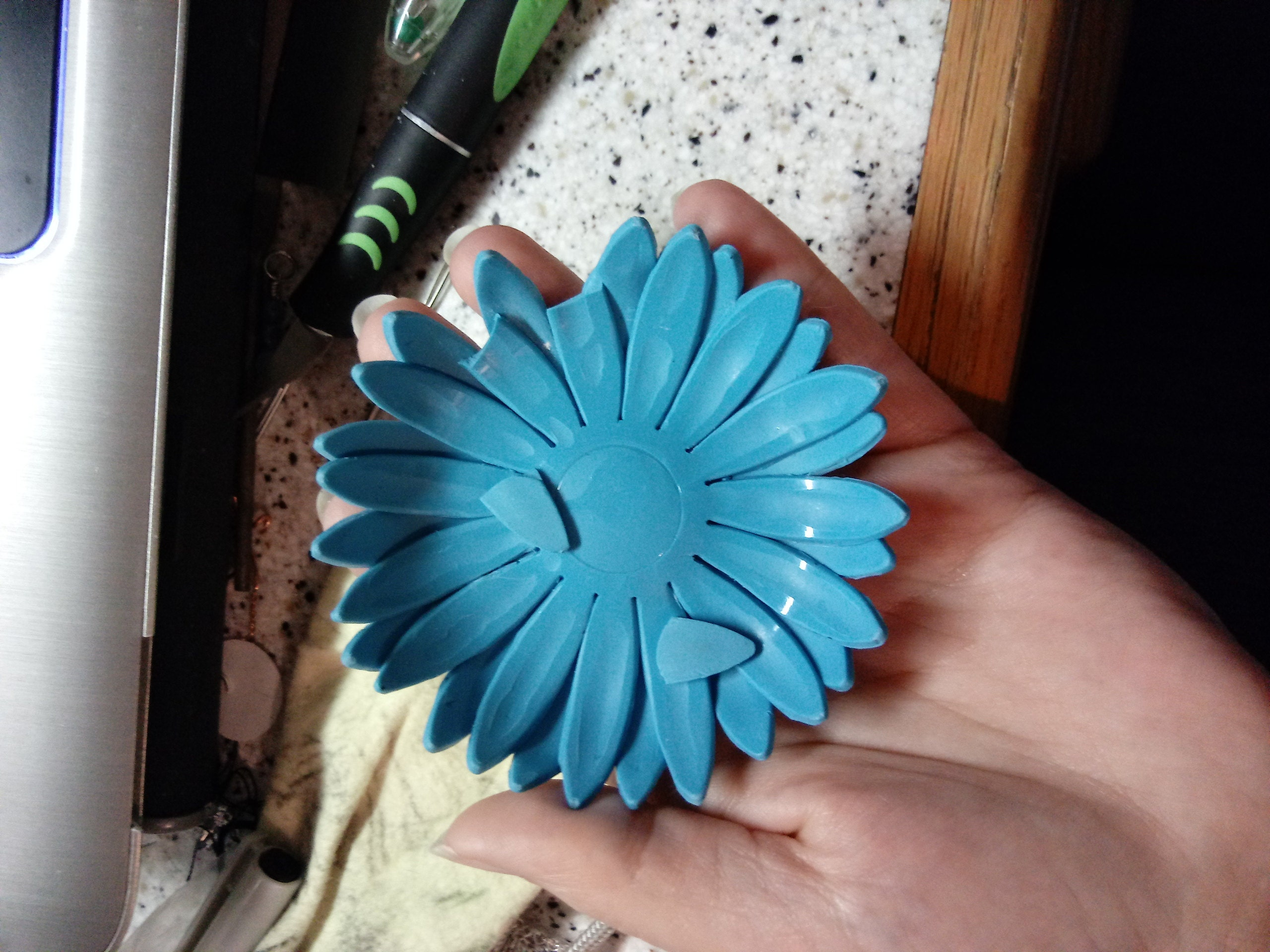 Blue daisy dish after testing.