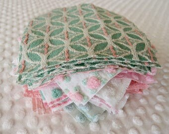 Vintage Chenille Fabric Quilt Squares - 30 - 6 inch squares, green, pink & white, - 500-138