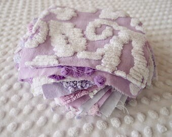 Vintage Chenille Fabric Quilt Squares - 20 - 6 inch squares, lavender & purple, all different - 500-204