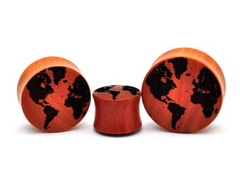 Laser Engraved World Map Saba Wood Plugs (PW-233) - Sold as a Pair - 5/8, 3/4, 7/8, 1 inch gauges