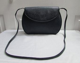 Vintage 1980s Anne Klein for Calderon Navy Blue Reptile Print Leather Cross Body Bag, Anne Klein Messenger Bag, Anne Klein Flap Bag, VGC