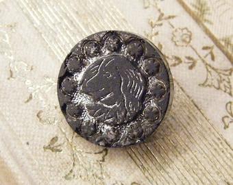 Antique button, dog head button, black glass, Victorian button  ANIMAL CHARITY DONATION
