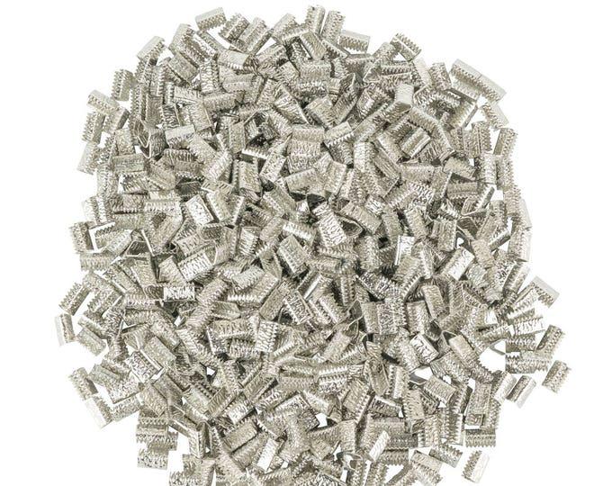 500pcs. 10mm or 3/8 inch *NO LOOP* Platinum Silver Ribbon Clamp End Crimps - Artisan Series
