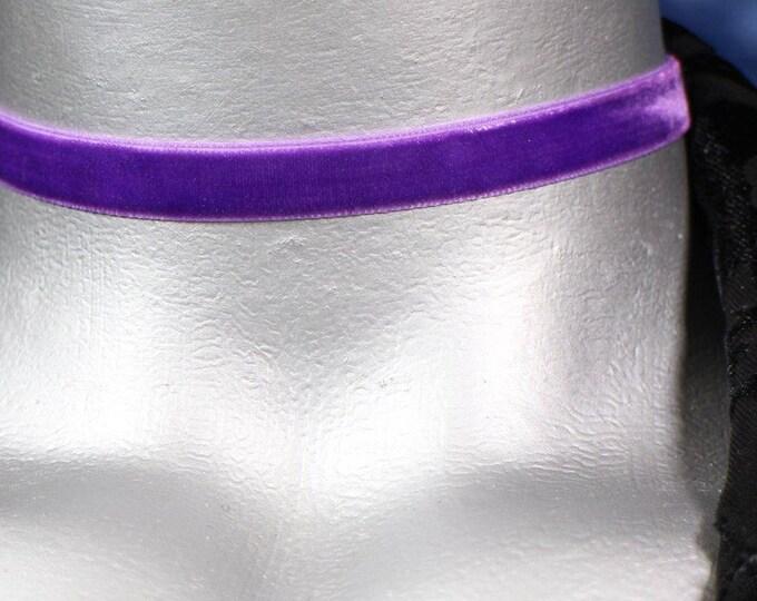 10mm Plain Purple Velvet Choker