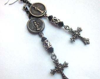Religious Assemblage Cross Dangle Earrings Antique Miraculous 1800's Medal Italy