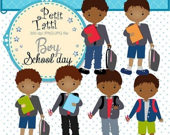 ON SALE African American Boy Students Clip Art _ Back to school Boy Clip Art. Classroom Clip Art,School Clip Art,small commercial use,ON Sal